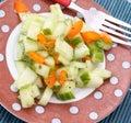 A fresh salad of paprika and cucumber Stock Photos