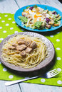 Fresh salad and pasta with chicken Royalty Free Stock Photo