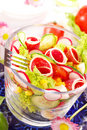 Fresh salad with salami Stock Photo