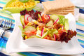Fresh salad with seafood and vegetables Stock Image