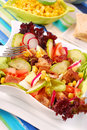 Fresh salad with seafood and vegetables Stock Photo