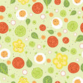Fresh salad seamless pattern background vector with hand drawn elements Royalty Free Stock Photos