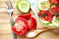 Fresh salad with tomato and cucumber vegetables Royalty Free Stock Photography
