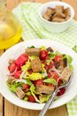 Salad with tomato, lettuce, onions and rye bread Royalty Free Stock Photo