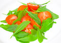 Fresh salad with tomatoes and rucola on plate Royalty Free Stock Image