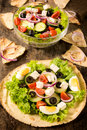 Fresh salad on tortilla selective focus the front spring bread Royalty Free Stock Photos
