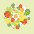Fresh salad vector illustration with hand drawn elements Royalty Free Stock Photography