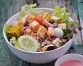 Fresh salad on woodden a Stock Photo