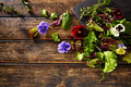 Fresh saland ingredients lettuce flowers spinach Royalty Free Stock Photo