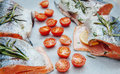 Fresh salmon with cherry tomato spices and ready to go to owen Royalty Free Stock Photography