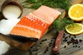 Fresh salmon with dill and lemon slice. Stock Image