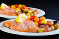 Fresh Salmon Dinners Royalty Free Stock Photography