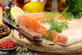 Fresh salmon fillet with herbs and spices. Stock Photography