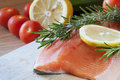 Fresh salmon rosemary vegetables Stock Photos