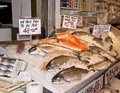 Fresh salmon for sale at a fish market Stock Photo