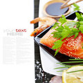 Fresh salmon and soy sause Royalty Free Stock Image