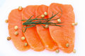 Fresh salmon with spices sliced raw fatty sashimi Royalty Free Stock Photos