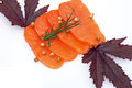 Fresh salmon with spices sliced raw fatty sashimi Stock Photo