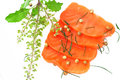 Fresh salmon with spices sliced raw fatty sashimi Stock Photos