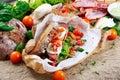 Fresh Sandwich with Bacon Lettuce Tomato and Mozzarella Royalty Free Stock Photo
