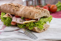Fresh sandwich with ham and cheese decorated tomatoes Royalty Free Stock Photos