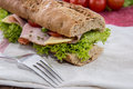 Fresh sandwich with ham and cheese decorated tomatoes Stock Images