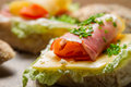 Fresh sandwich with lettuce cheese and ham closeup of Royalty Free Stock Photo