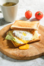 Fresh sandwich with poached