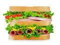 Fresh sandwich with salami, cheese, tomato, lettuce on white iso Royalty Free Stock Photo