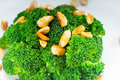 Fresh sauteed broccoli and almonds Royalty Free Stock Photography