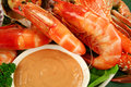 Fresh seafood platter cooked shrimps sand crab coriander thousand island dressing Royalty Free Stock Image
