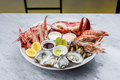 Fresh seafood platter with lobster, mussels and oysters Royalty Free Stock Photo