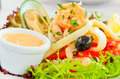 Fresh seafood salad Royalty Free Stock Photo