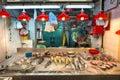 Fresh seafood on sale at a Hong Kong indoor food market Royalty Free Stock Photo