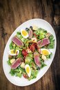 Fresh seared raw tuna fish and mixed vegetable salad with mustard sauce Royalty Free Stock Photo