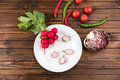 Fresh seasonal vegetables on wooden table top texture