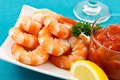 Fresh Shrimp on Aqua Background Stock Photography