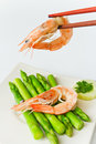 Fresh shrimp cooks asparagus Stock Photo