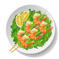 Fresh shrimp or prawn grilled fried skewers barbeque, sesame Royalty Free Stock Photo