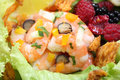 Fresh shrimp salad close up with berries Royalty Free Stock Photography