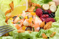 Fresh shrimp salad close up with berries Royalty Free Stock Photos