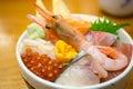 Fresh shrimp and various kinds of sashimi raw fish rice bowl Royalty Free Stock Photo