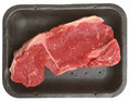 Fresh sirloin beef steak in tray packaging Stock Photo