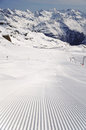 Fresh ski track at Soelden glacier Royalty Free Stock Image
