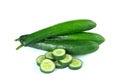 Fresh sliced   cucumber on white background Royalty Free Stock Photo