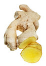 Fresh sliced ginger root isolated on white background Royalty Free Stock Photo