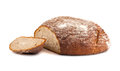 Fresh sliced rye round bread on white background Royalty Free Stock Photo
