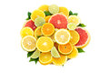 Fresh slices different types citrus orange lime mandarin grapefruit Stock Photos