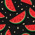 Fresh slices of red watermelon seamless background sweet juice pattern vector illustration Stock Photos