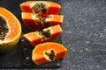 Fresh slices of sweet papaya Royalty Free Stock Photo